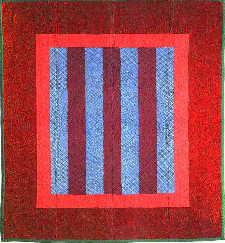 Amish red/blue striped quilt