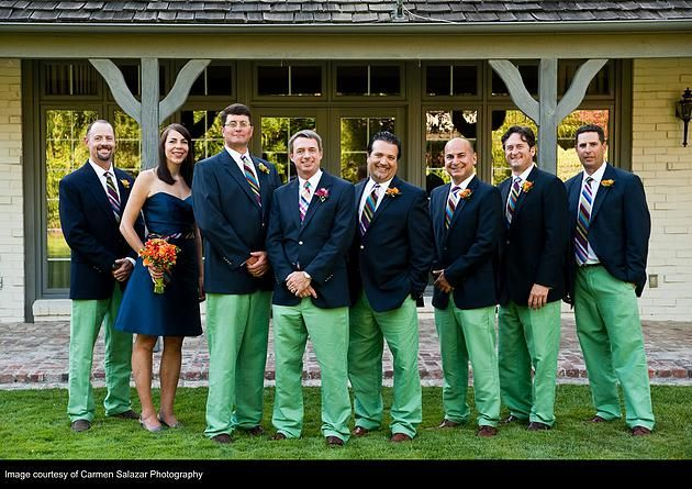 Pops of green added a fun touch, especially in the groom's and groomsmen's trousers! Boutonnieres and bouquet by  Visual Impact Design, Sacramento Wedding Florist | Coordination & Planning: Aimee from 2Chic Events & Design | Carmen Salazar Photography