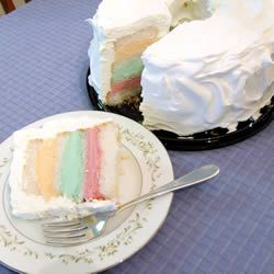 """Rainbow Sherbet Cake   """"""""A delightfully refreshing summer dessert featuring sherbet and angel food cake. Pretty as a picture!"""""""