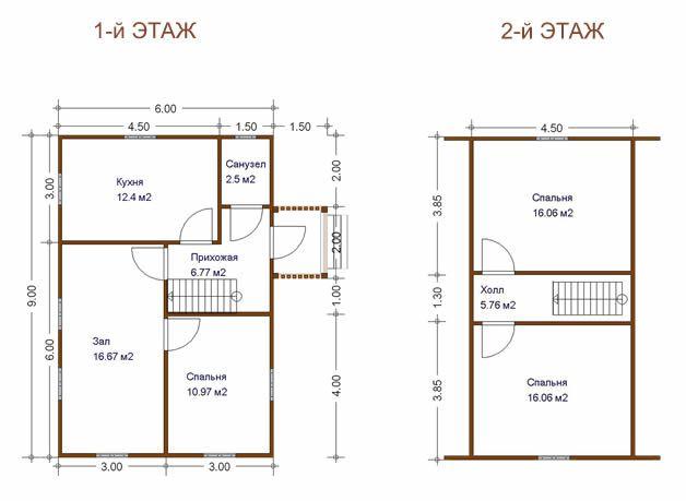 планировка двухэтажного дома 6х9 с мансардой