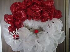 SANTA CLAUS DECO MESH CHRISTMAS WREATH READY TO HANG.