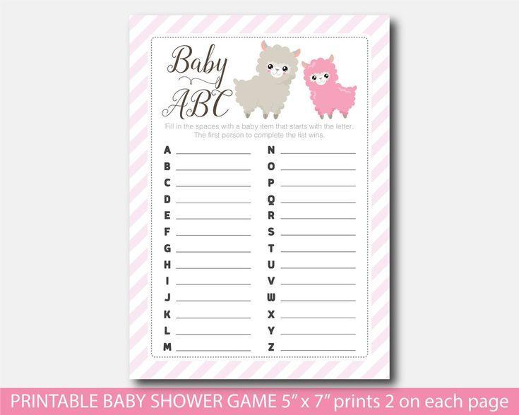 Llama baby shower ABC game, Printable baby shower Llama game, BLL1-04