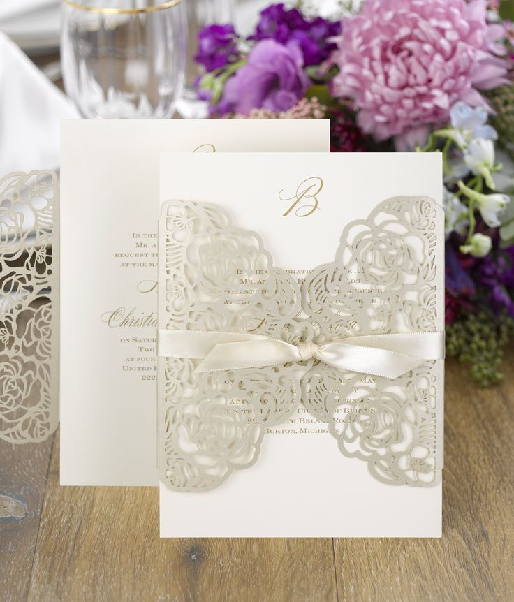 tulip wedding invitation templates%0A A gold shimmer wrap with a lasercut rose pattern encloses your invitation   Guests