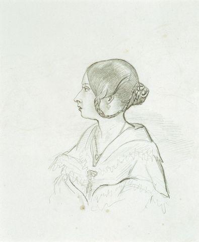 Portrait of Queen Victoria  circa 1840 by Prince Albert, Prince Consort, consort of Victoria, Queen of the United Kingdom (1819-61)