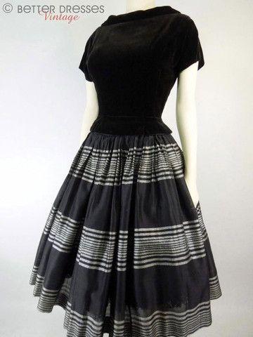40s/50s New Look Black Velvet & Silk Party Dress - sm