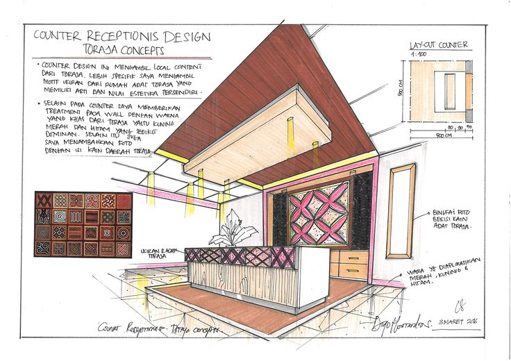 interior receptionist sketch with toraja concept