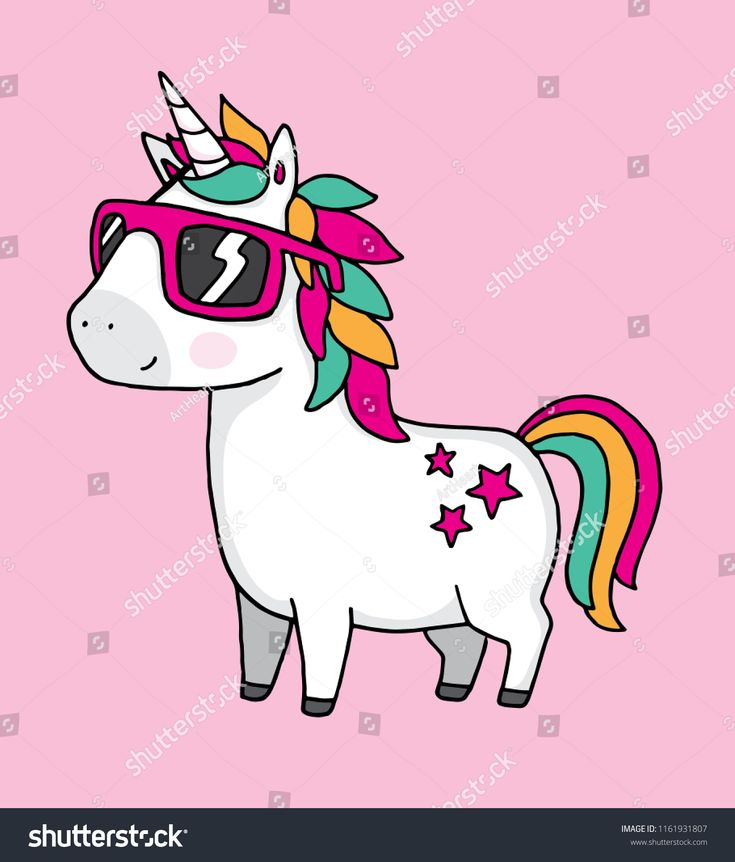 A Cool Unicorn Wearing Sunglasses On A Pink Background