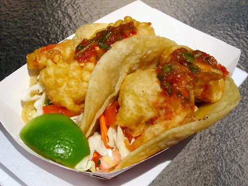 Shrimp tacos from Buster's Sea Cove. http://busters-seacove.com/