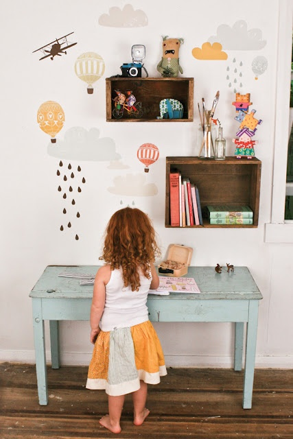 kids room // wall decals, square shadow box shelves, vintage mint green table