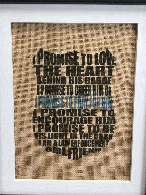 Police Girlfriend Burlap Print Rustic Home Decor Wife of a