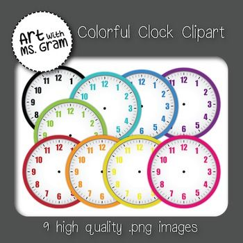 Colorful Blank Clock Clipart Included are 9 blank .png image files of blank clocks (different colors) and a minute and hour hand.