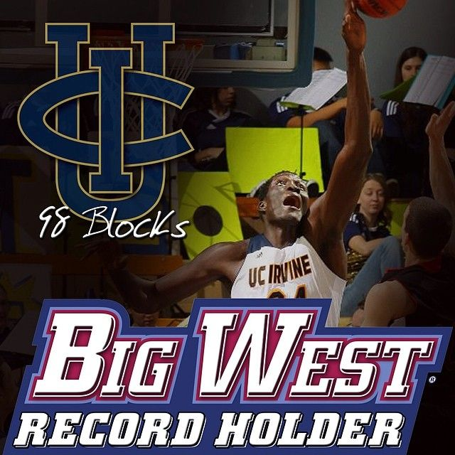 UCI freshman Mamadou N'Diaye sets a new Big West single season record with 98 blocks (3-2014).  He surpasses Pacific's Michael Olowokandi who had 95 and was the NBA draft overall #1 pick.  Mamadou finishes the season with 106 total blocks.