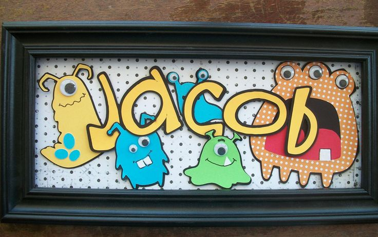 For Henry's Room. Monster name sign customized boy girl  baby toddler bedroom wall hanging home decor. $17.00, via Etsy.