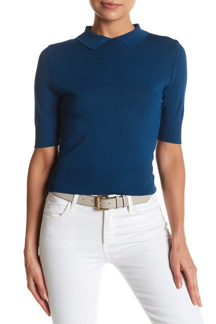 Image of Free Press Short Sleeve Fitted Polo Sweater