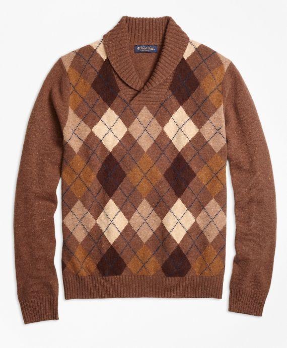 1920s Men's Heritage Argyle Shawl Collar Sweater $268.00 AT vintagedancer.com