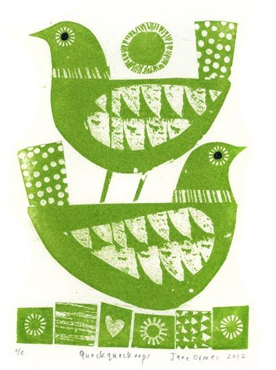 bird stamp, pattern, design, lino cut, colour, green, printmaking, design, illustration