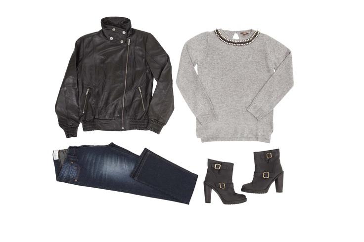 Chaqueta Cuero #41217 Sweater #41661Jeans #41596 Botín #41723
