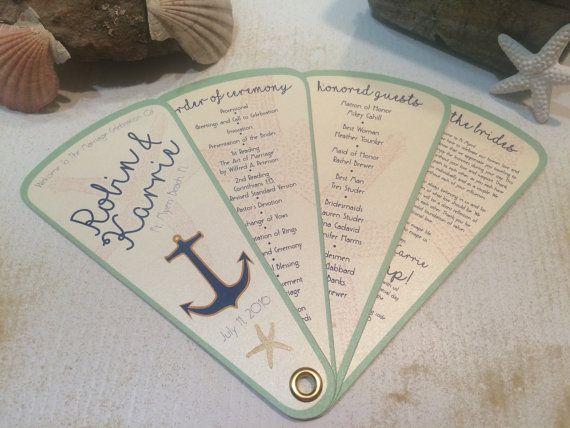 Beach Wedding Programs Fan By OneChelleOfAMug