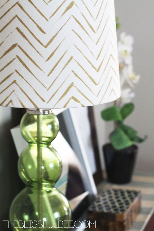 "G""oing Gold: DIY Chevron Lamp Shade"" (... I love the casual brush stroke used for the line work on this chevron! Noting for later canvas work ...! k)"