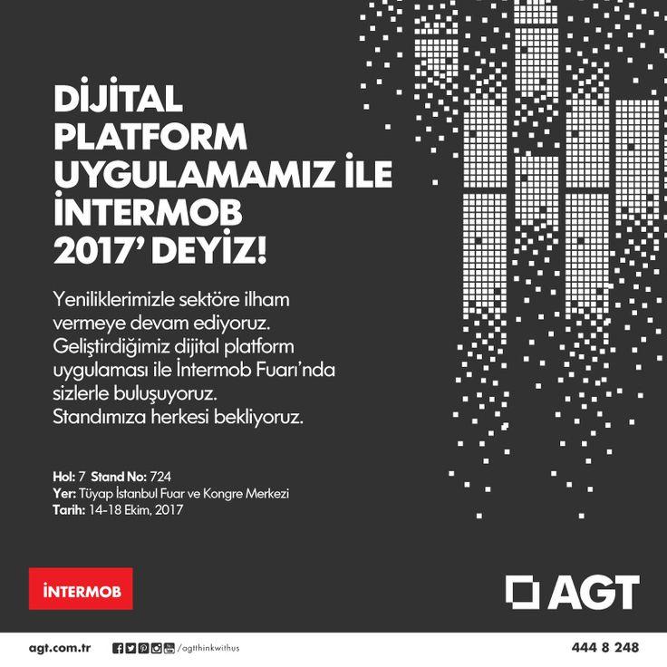 Yeniliklerimizle sektöre ilham vermeye devam ediyoruz! Geliştirdiğimiz dijital platform uygulaması ve yeni ürünlerimizle İntermob Fuarı'nda sizlerle buluşuyoruz. #yenilikisteyene #agt #intermob2017