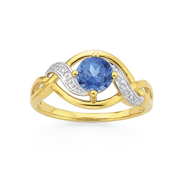 9ct Gold Created Sapphire and Diamond Ring