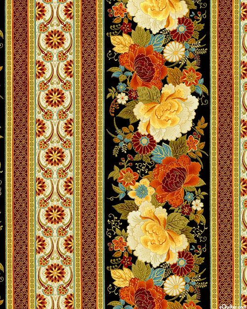 Kyoto Blossoms - Spice Flower Stripe - Black/Gold