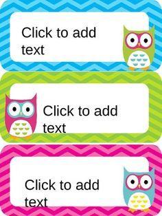 Owl Editable Name Tags / Desk Plates - Rainbow Chevron | Etiquetas ...