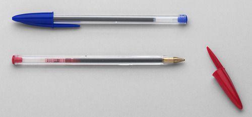 "Bic Cristal® Ballpoint pen. Décolletage Plastique Design Team. Polystyrene, polypropylene, and tungsten carbide. 1950.  Good design becomes u""bic""uitous."