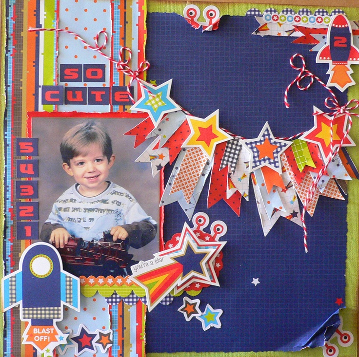 "Using ""Blast Off"" paper collections, I created this layout for my DT work for Kaisercraft 2013. Adriana Bolzon"