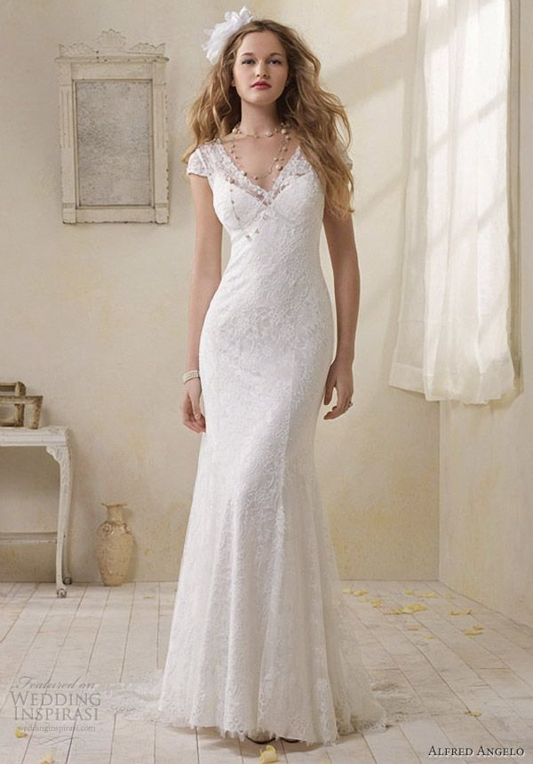 alfred angelo modern vintage bridal lace cap sleeve sheath wedding dress 8501