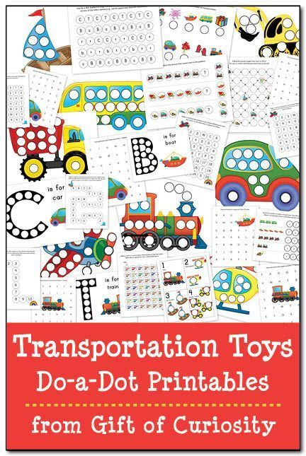 Transportation Toys Do-a-Dot Printables: 29 do-a-dot worksheets featuring cars, trucks, buses, construction vehicles, trains, planes, helicopters, & boats. #DoADot || Gift of Curiosity