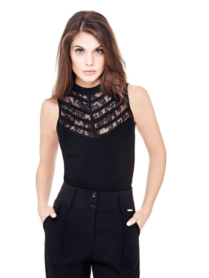 EUR89.90$  Buy now - http://vijnj.justgood.pw/vig/item.php?t=u4hxh0f50334 - STRAIGHT ROUND NECK TOP WITH LACE