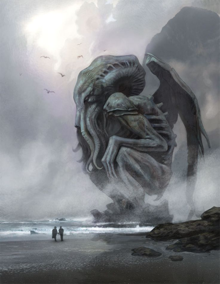 Cthulhu in the mist by NathanRosario| On a foggy morning two people come across a giant statue of Cthulhu.