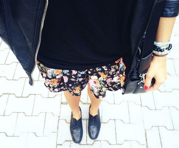 Zara tshirt, jacket, bag and shoes, Stadivarius skirt and Mokobelle bracelets