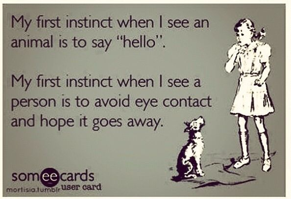 "Haha yep. I always think, "" Wow, I really need to work on my eye contact."" It's such a specific choice."