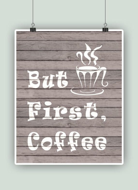 Coffee Art Typographic Print But First Coffee Wall by PrintCorner