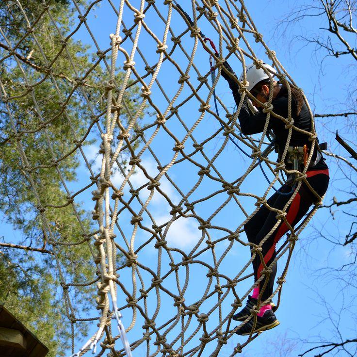 Tarzan-hypyssä heilahdetaan liaanilta verkkoon. Se pysäyttää vauhdin.  #tarzanswing #seikkailupuistohuippu
