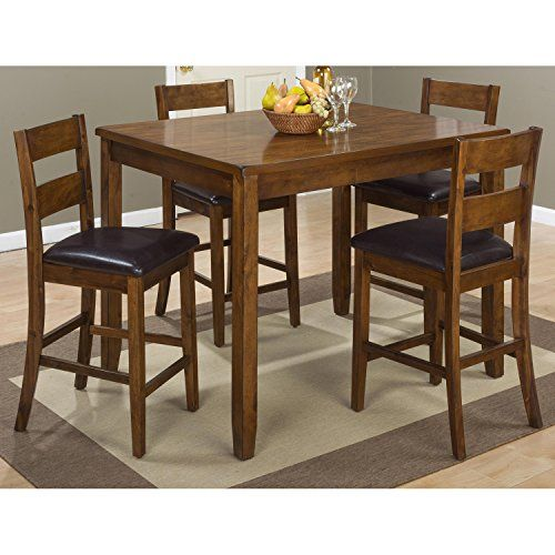Plantation 5 Pieces Counter Dining Set - Warm Brown