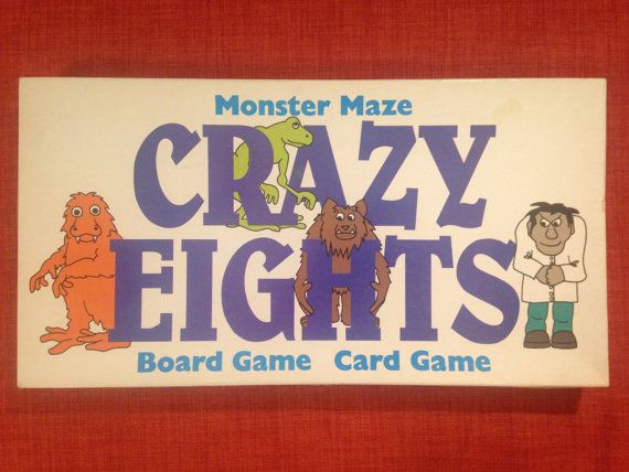 RARE Crazy Eights Monster Maze Board Game Card by MadMamaVintage