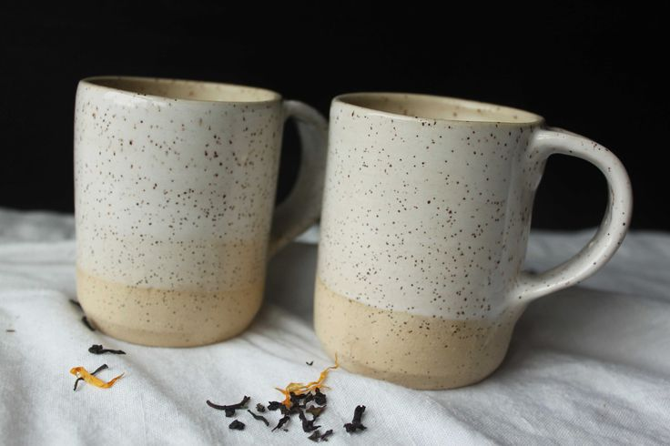 White glazed stoneware mugs - Stinging Nettle Studio, Homestead Series