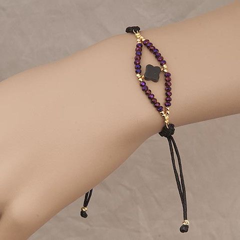 Handmade Black Bracelet With Purple Crystals At Anthoshop.com