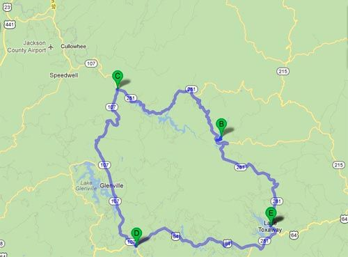 Blue Ridge Travel Guide | Best Mountain Roads NC-281 and NC-107 Loop From Lake-Toxaway to Cashiers, NC - Google Map