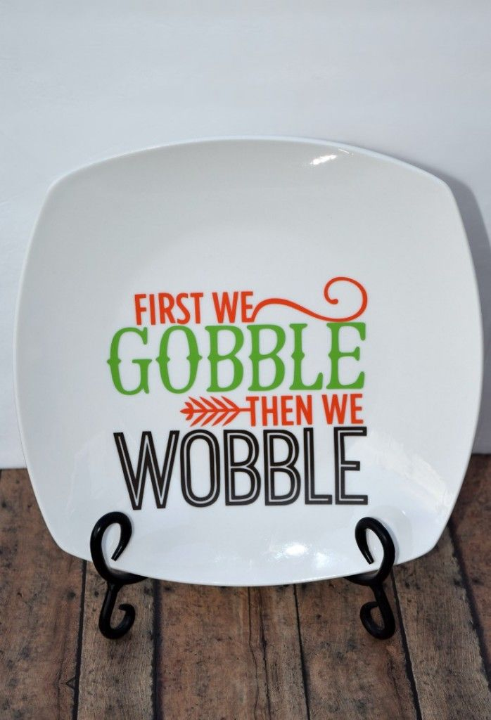 Thanksgiving Turkey Plate made with a Silhouette and Vinyl
