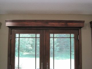 Handmade Wooden Cornices Over French Doors And Single