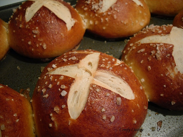 Pretzel Sandwich Rolls..... or just buy the one's from 'Sam's Club'... they look just like these and they're wonderful;!