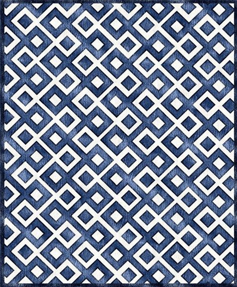 It's a rug, but maybe a cool quilt design too, Diamonds Rug in Blue