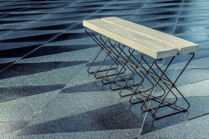 Steel Bench by Sophie Vaugarny Fer à béton, béton  Crédit photo Antoine Violleau