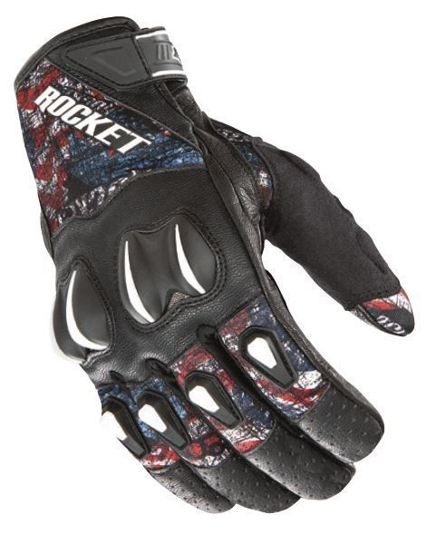 Joe Rocket Cyntek Mens Leather Gloves Empire Black/Red/White/Blue