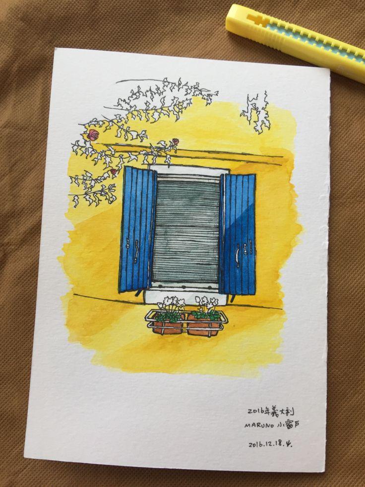 No.5 Blue&Yellow Window in Murano Italy