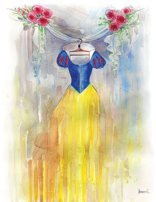 Children Art Print ~ Disney Art Watercolor Painting Print ~Snow White Dress ~ yellow and gray nursery art, nursery painting, nursery artwork by BasovaArt on Etsy https://www.etsy.com/listing/220750084/children-art-print-disney-art-watercolor